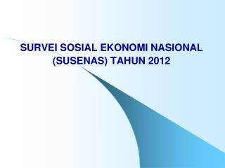 SURVEI SOSIAL EKONOMI NASIONAL  (SUSENAS) TAHUN 20 12