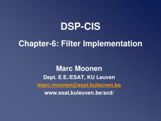 DSP-CIS Chapter-6: Filter Implementation