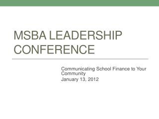 MSBA Leadership Conference