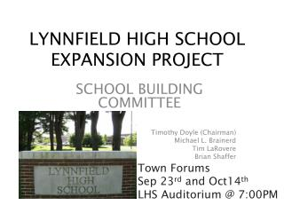 LYNNFIELD HIGH SCHOOL  EXPANSION PROJECT