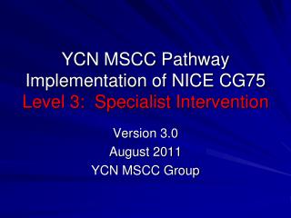 YCN MSCC Pathway Implementation of NICE CG75  Level 3:  Specialist Intervention