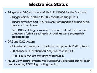 Electronics Status