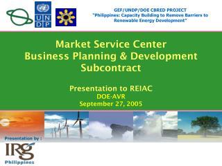 GEF/UNDP/DOE CBRED PROJECT