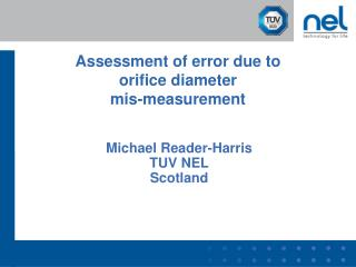 Assessment of error due to  orifice diameter mis-measurement
