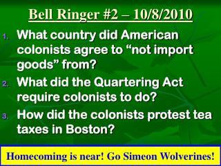 Bell Ringer #2 – 10/8/2010