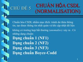 CHU?N H � A CSDL (NORMALISATION)