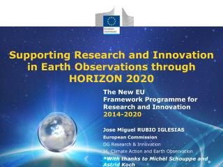 Supporting Research and Innovation  in Earth Observations through HORIZON 2020