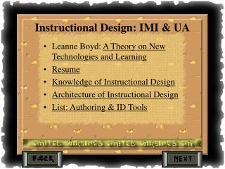 Instructional Design: IMI & UA