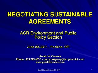 NEGOTIATING SUSTAINABLE AGREEMENTS