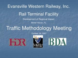 Evansville Western Railway, Inc. Rail Terminal Facility Development of Regional Impact