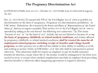 The Pregnancy Discrimination Act