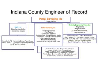 Indiana County Engineer of Record