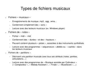Types de fichiers musicaux