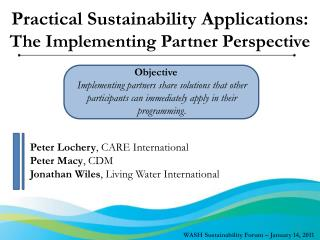 Practical Sustainability Applications: The Implementing Partner Perspective