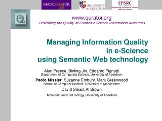 Managing Information Quality  in e-Science using Semantic Web technology