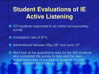 Student Evaluations of IE Active Listening