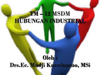 TM – 12  MSDM HUBUNGAN INDUSTRIA L Oleh : Drs.Ec. Mudji Kuswinarno, MSi