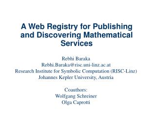 A Web Registry for Publishing and Discovering Mathematical Services