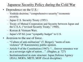 Japanese Security Policy during the Cold War