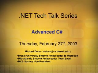 .NET Tech Talk Series