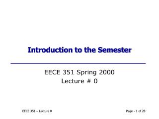 Introduction to the Semester