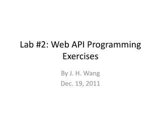 Lab #2: Web API Programming Exercises