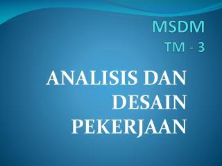 MSDM  TM - 3