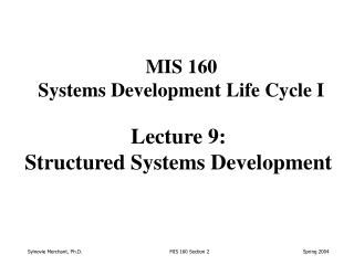 Lecture 9: Structured Systems Development
