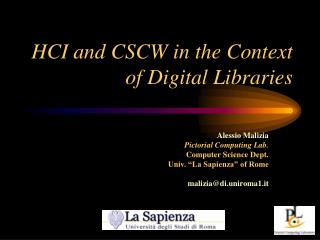 HCI and CSCW in the Context of Digital Libraries