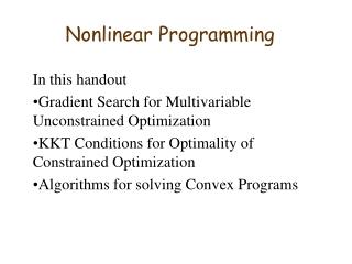 Nonlinear Programming II