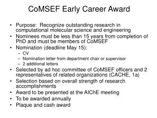 CoMSEF Early Career Award