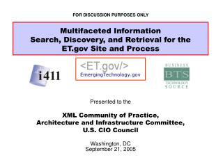 Presented to the XML Community of Practice, Architecture and Infrastructure Committee,