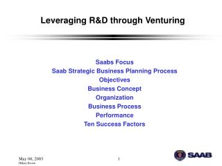 Leveraging R&D through Venturing