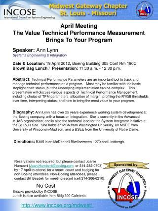 Date & Location:  19 April 2012 ,  Boeing Building 305 Conf Rm 190C