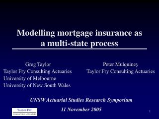 Modelling mortgage insurance as a multi-state process