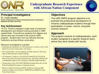 Undergraduate Research Experience with African Nation Component