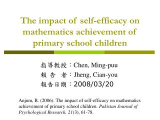 The impact of self-efficacy on mathematics achievement of primary school children