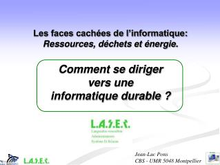 Jean-Luc Pons  CBS - UMR 5048 Montpellier