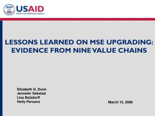 LESSONS LEARNED ON MSE UPGRADING: EVIDENCE FROM NINE VALUE CHAINS