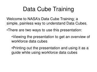 Data Cube Training