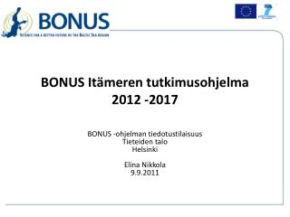 BONUS Itämeren tutkimusohjelma  2012 -2017