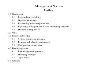 Management Section Outline