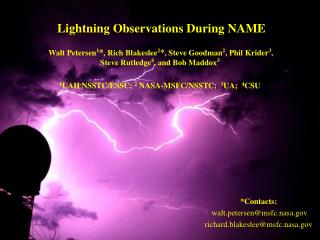 Lightning Observations During NAME