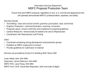 Information Services Department MSFC Proposal Production Team