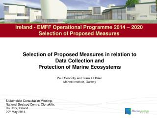 Ireland - EMFF Operational Programme 2014 – 2020 Selection of Proposed Measures