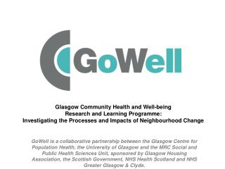 Glasgow Community Health and Well-being  Research and Learning Programme: