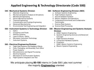 Applied Engineering & Technology Directorate (Code 500)