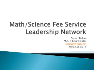 Math/Science Fee Service Leadership Network