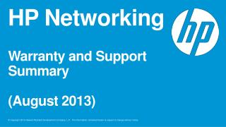 HP Networking Warranty and Support Summary (August 2013)