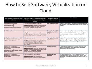 How to Sell: Software, Virtualization or Cloud